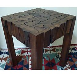 Reclaimed Teak Wood Jigsaw End Table (Thailand) - Thumbnail 2