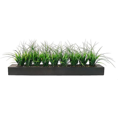 Vintage Home Green Grass in Contemporary Wood Planter - 13""