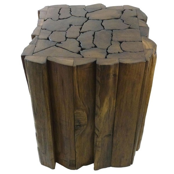 Handmade Reclaimed Teak Wood Jigsaw Stool/ Accent Table (Thailand)