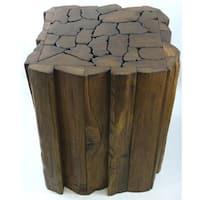 Handmade Reclaimed Teak Wood Jigsaw Stool/ Accent Table (Thailand)