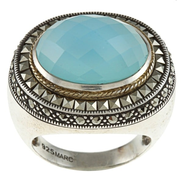 MARC Sterling Silver Blue Chalcedony and Marcasite Cocktail Ring