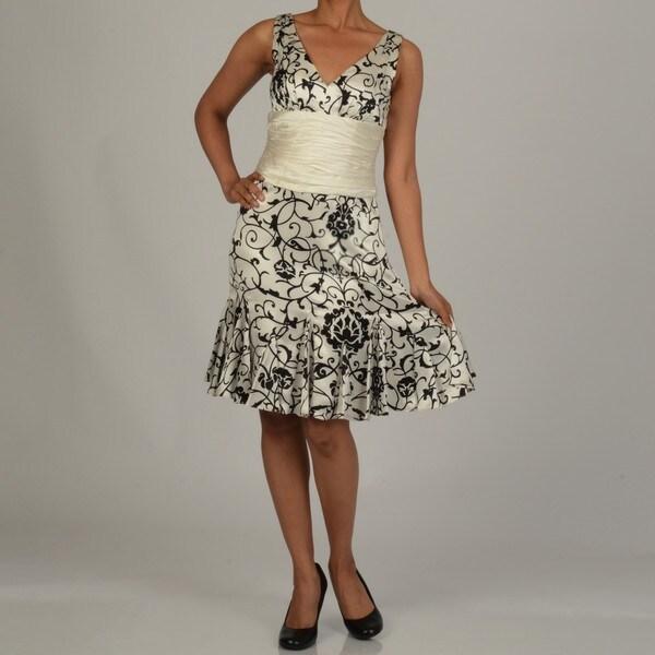 Issue New York Women's Black/ White Printed Cinch Waist Dress