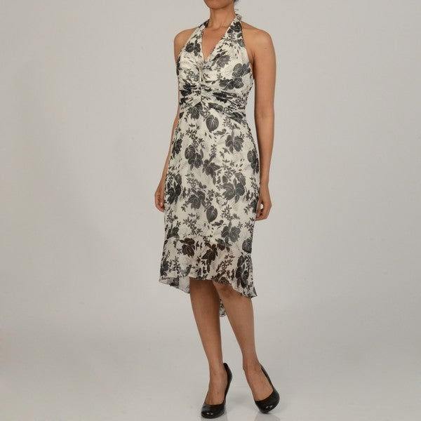 Issue New York Women's Floral Silk Halter Flounce Hem Evening Dress