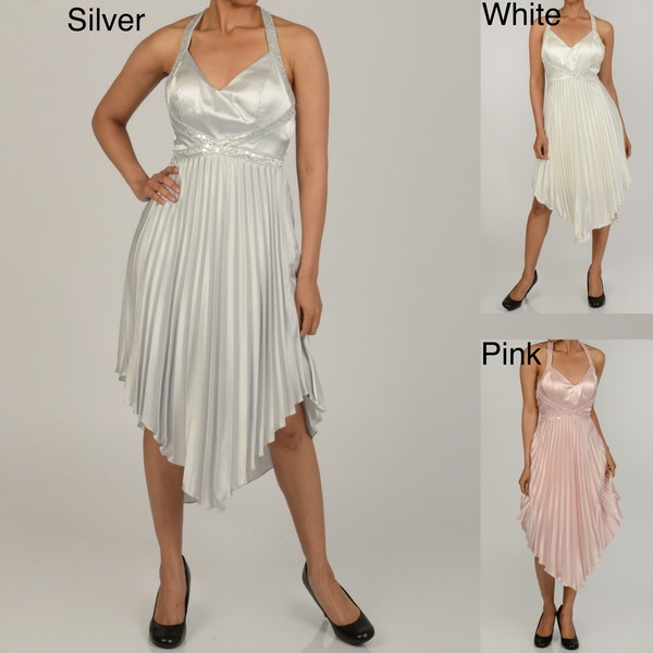 Issue New York Women's Bead/ Sequin Pleated Halter Evening Dress
