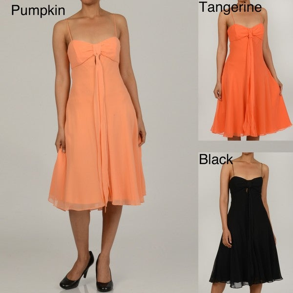 Issue New York Women's Silk Spaghetti Strap Evening Dress
