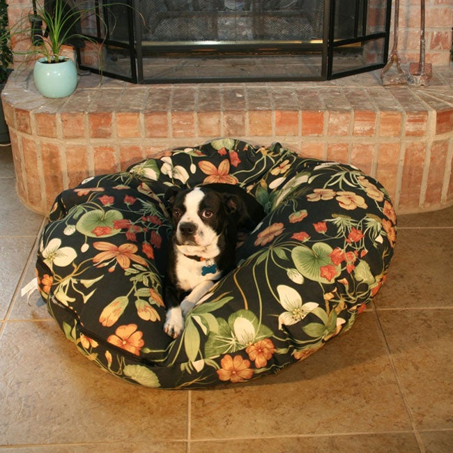 Large Round Garden Lily Dog Bed
