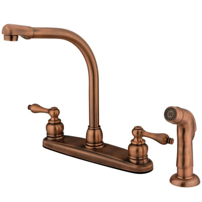 Shop High Arch Antique Copper Kitchen Faucet with Sprayer - Free ...