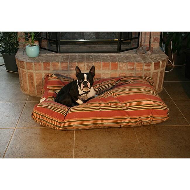 Burgundy Stripe Pet Bed