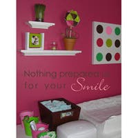 Vinyl Attraction 'Nothing Prepared Us For Your Smile' Brown/Pink Nursery Decal