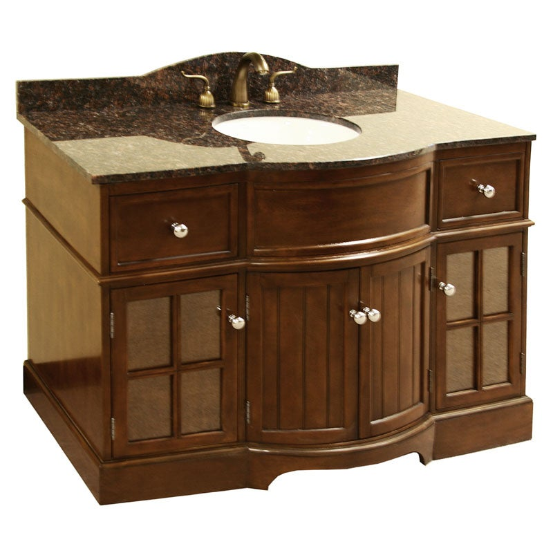 granite top 48- inch single sink bathroom vanity - free shipping