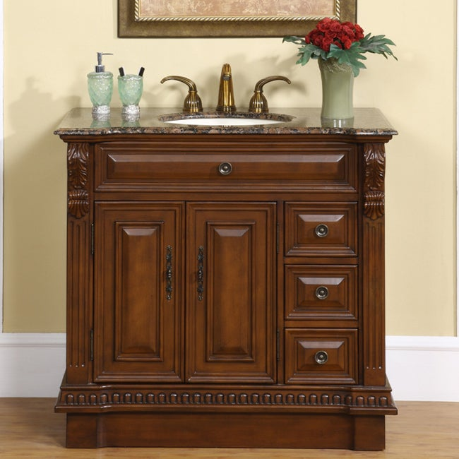 Top Of Counter Sink : ... 38-inch Stone Counter Top Bathroom Vanity Lavatory Single Sink Cabinet
