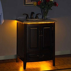 Silkroad Exclusive Travertine Top 27-inch LED Light Single Sink Bathroom Vanity Cabinet - Thumbnail 2