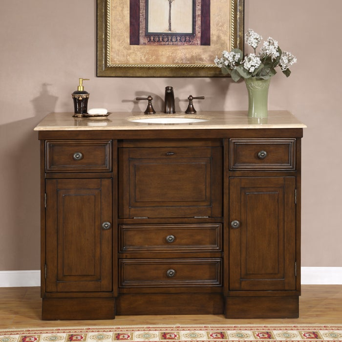 travertine 48 inch countertop single sink bathroom vanity cabinet
