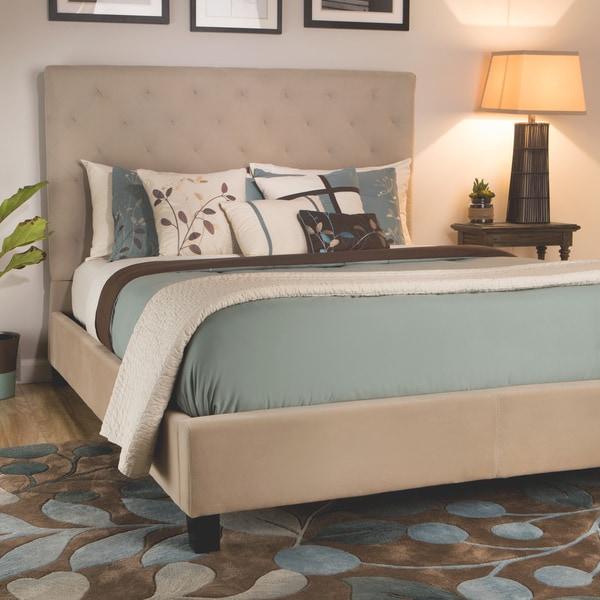 Shop Sophie Tufted Taupe Velvet Queen Size Platform Bed