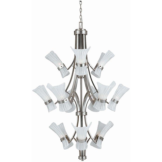 Bali Brushed Steel 12-light Chandelier