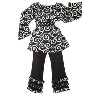Ann Loren Girls Swirl Pant Set