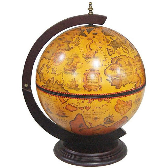 Merske 16.5 Inch Italian Replica Tabletop Globe Bar