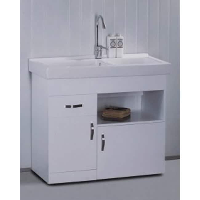 White ceramic 31 5 inch single sink bathroom vanity free for Overstock com vanities