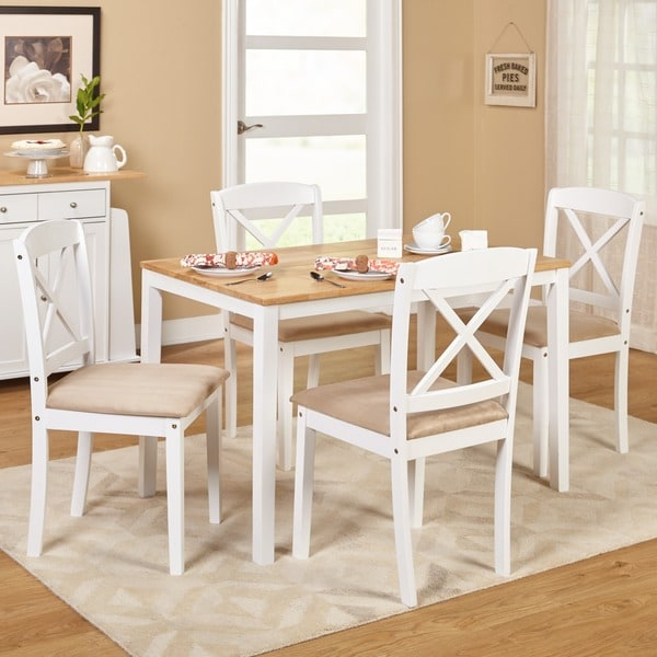 Shop Simple Living White 5 Piece Crossback Dining Set On