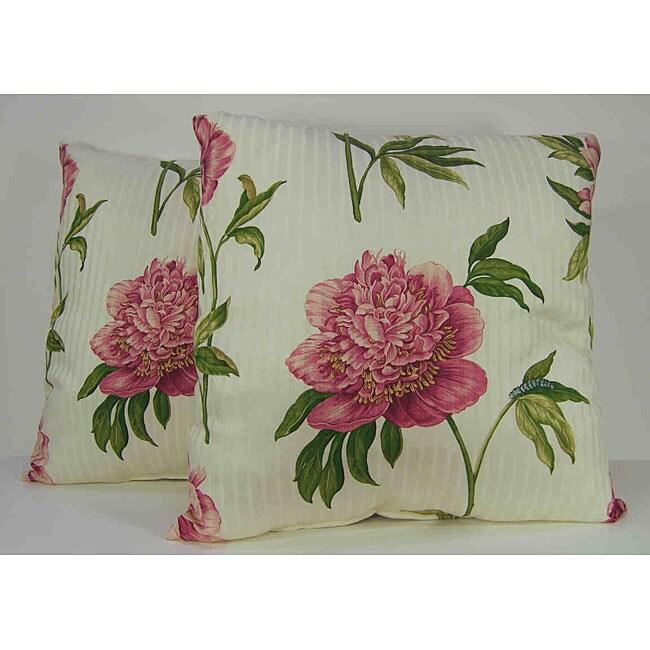 Ashton Peony Raspberry Decorative Pillows (Set of 2)