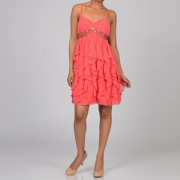 Decode 1.8 Womens Beaded Coral Social Dress