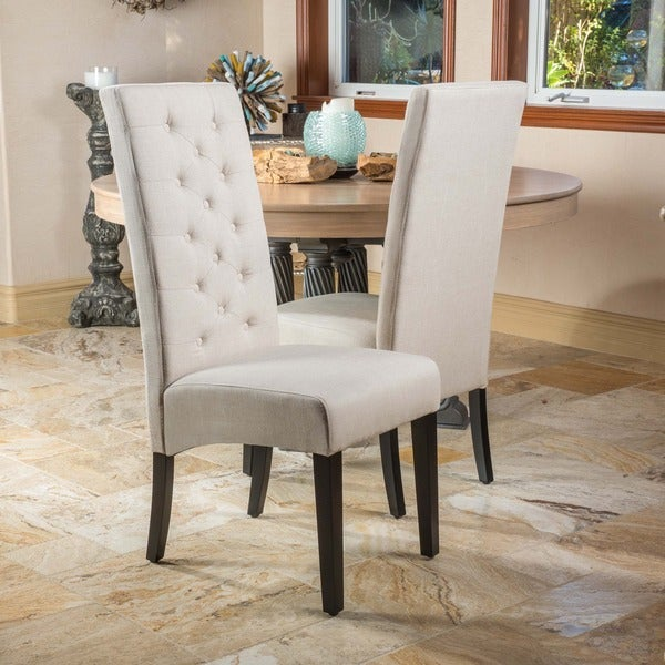 Tall Back Natural Fabric Dining Chair Set Of 2 By Christopher Knight Home
