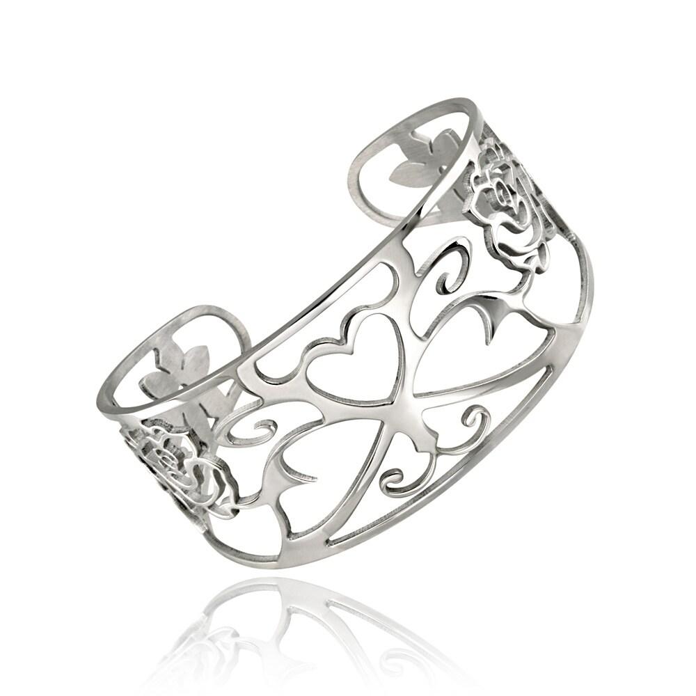 Mondevio Stainless Steel Filigree Design Cuff Bracelet