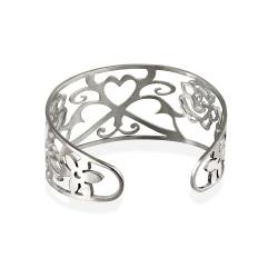 Mondevio Stainless Steel Filigree Design Cuff Bracelet - Thumbnail 1