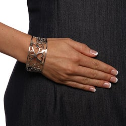 Mondevio Stainless Steel Filigree Design Cuff Bracelet - Thumbnail 2