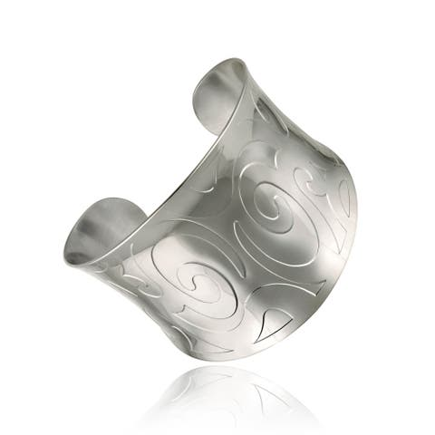 Mondevio High-polish Stainless Steel Engraved-design Wide Cuff Bracelet