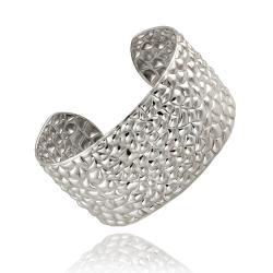 Mondevio Stainless Steel Textured Cuff Bracelet