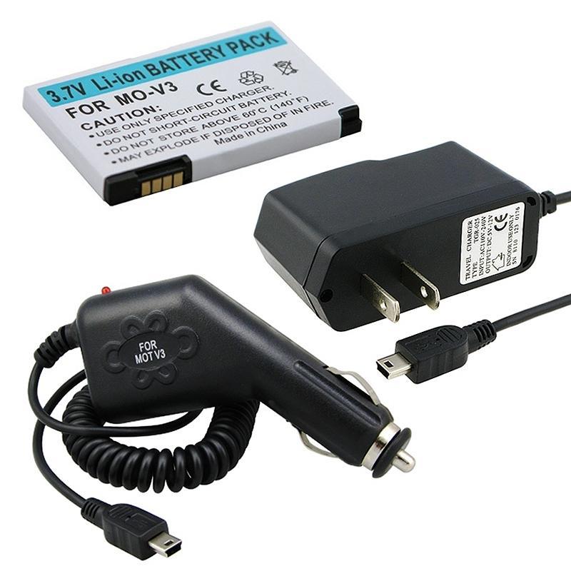 INSTEN 3-piece Car/ Travel Charger/ Battery for Motorola Razr V3/ Razor V3m