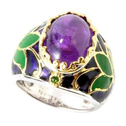 Michael Valitutti Two-tone Amethyst and Chrome Diopside Enameled Ring