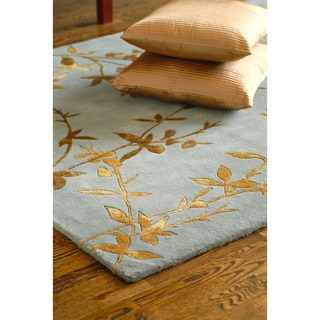 Hand-tufted Jackson Gray Floral Wool Rug (5' x 8')