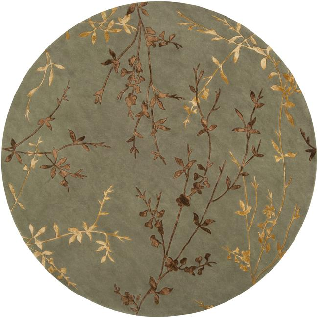 Hand Tufted Agra Red Gold Wool Rug 8 Round: Hand-tufted Tulsa Light Green Floral Wool Blend Rug (8