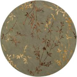 Hand-tufted Tulsa Light Green Floral Wool Blend Rug (8' Round)