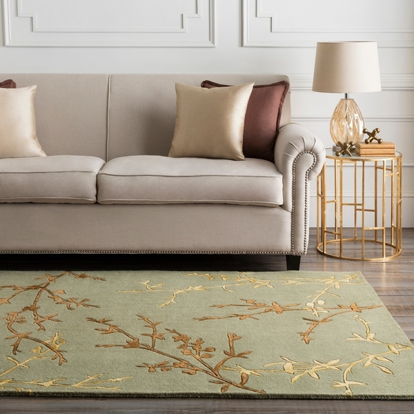 Hand-tufted Tulsa Light Green Floral Wool Blend Area Rug - 8' x 8'