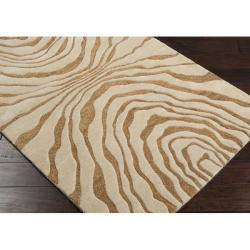 Hand-tufted Contemporary Beige Baltimore New Zealand Wool Abstract Rug (8' x 11') - Thumbnail 1