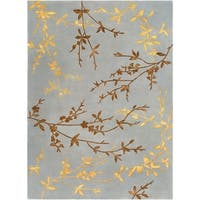 Hand-tufted Jackson Gray Floral Wool Area Rug - 8' x 11'
