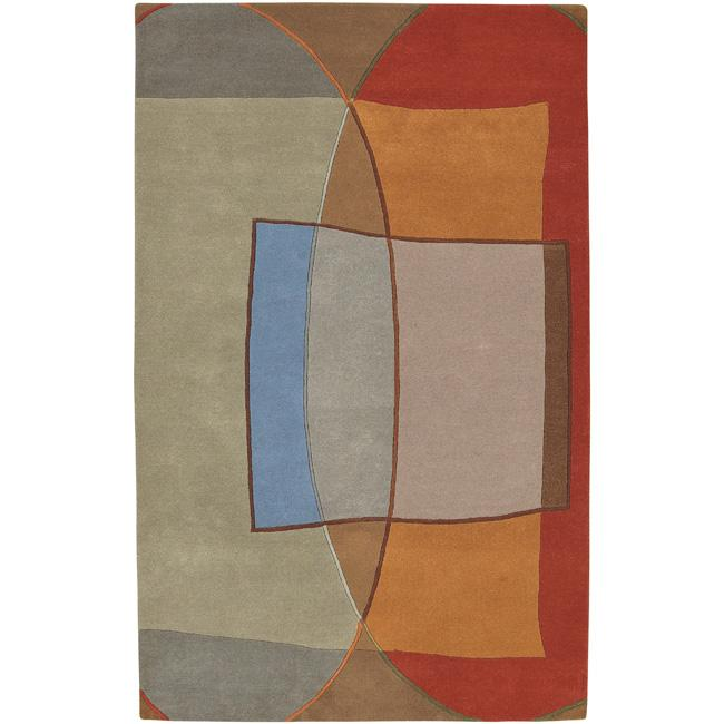 Hand-tufted Multi Colored Contemporary Kansas New Zealand Wool Abstract Rug (8' x 11')