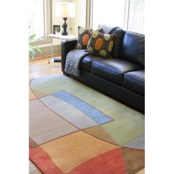 Hand-tufted Multi Colored Contemporary Kansas New Zealand Wool Abstract Rug (8' x 11') - Thumbnail 2