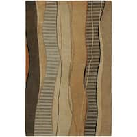 Hand-knotted Brown Stripe Contemporary Haven Wool Abstract Area Rug - 5' x 8'