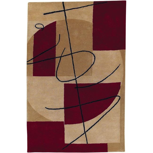 Hand-tufted Beige Contemporary Naperville New Zealand Wool Abstract Rug (8' x 11')