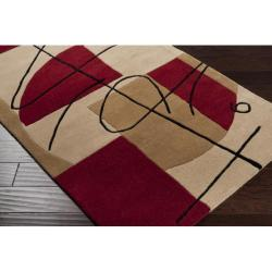 Hand-tufted Beige Contemporary Naperville New Zealand Wool Abstract Rug (8' x 11') - Thumbnail 1