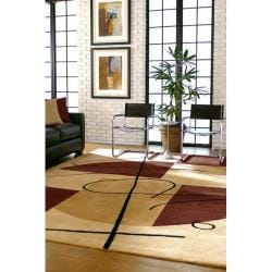 Hand-tufted Beige Contemporary Naperville New Zealand Wool Abstract Rug (8' x 11') - Thumbnail 2