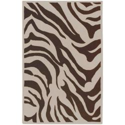 Hand-tufted Brown/White Zebra Animal Print Austin  Wool Rug (8' x 11')