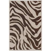 Hand-tufted Brown/White Zebra Animal Print Austin Wool Area Rug - 8' x 11'