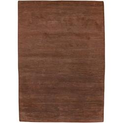 Hand-knotted Solid Brown Lawton Semi-worsted New Zealand Wool Area Rug - 8' x 11' - Thumbnail 0