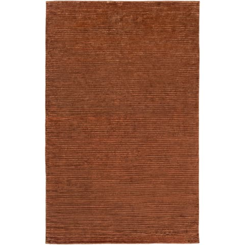 Hand-knotted Solid Brown Lawton Semi-worsted New Zealand Wool Area Rug - 8' x 11'