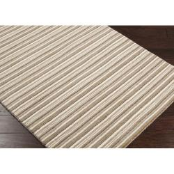 Hand-crafted Beige Stripe Fairbanks Wool Rug (8' x 11') - Thumbnail 1